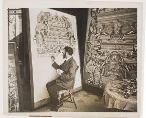 Lesage en train de peindre en public en 1927